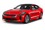 2018 KIA Stinger GT-Line 5 Door Hatchback angular front stock photos of front three quarter view