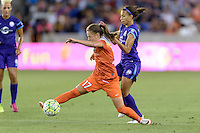 Andressa (17) of the Houston Dash reaches for the ball in front of Kristen Edmonds (12) of the Orlando Pride on Friday, May 20, 2016 at BBVA Compass Stadium in Houston Texas. The Orlando Pride defeated the Houston Dash 1-0.