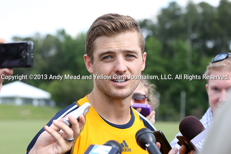 28 May 2013: Robbie Rogers, the first athlete to play a major men's team sport in the United States after coming out as gay, talks to the media. The Los Angeles Galaxy held a training session on Field 3 at WakeMed Soccer Park in Cary, NC the day before playing in a 2013 Lamar Hunt U.S. Open Cup third round game.