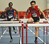 Kenneth Wei of Mount Sinai competes in the 55 meter hurdles final during the Suffolk County varsity boys track and field small schools championship at Suffolk Community College Grant Campus in Brentwood on Friday, Feb. 2, 2018. He won with a time of 7.61.