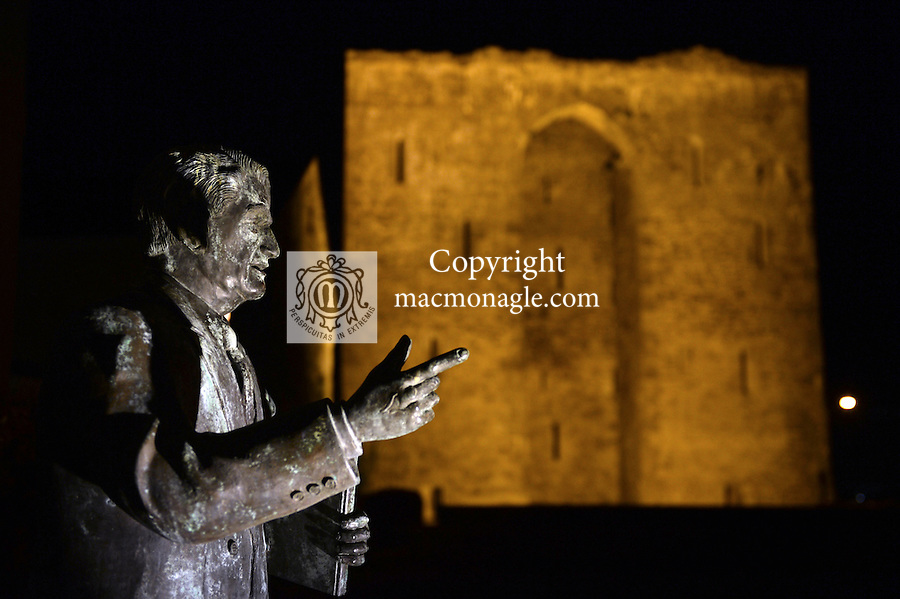 A statue of Bryan McMahon at Listowel Castle.<br /> Photo: Don MacMonagle <br /> e: info@macmonagle.com