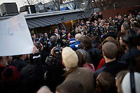 Former senator Rick Santorum speaks to a crowd made primarily of media and protestors outside Belmont Hall and Restaurant in Manchest, New Hampshire, on Jan. 6, 2012.  Santorum is seeking the 2012 GOP Republican presidential nomination..