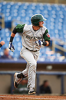 Fort Wayne TinCaps second baseman Chase Jensen (24) runs to first during a game against the Lake County Captains on May 20, 2015 at Classic Park in Eastlake, Ohio.  Lake County defeated Fort Wayne 4-3.  (Mike Janes/Four Seam Images)