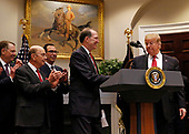 United States President Donald J. Trump announces David Malpass as his choice to serve as president of the World Bank, in the Roosevelt Room of the White House, in Washington, DC, February 6, 2019.  Looking on from left: US Trade Representative Robert Lighthizer, US Secretary of Commerce Wilbur L. Ross, Jr., and US Secretary of the Treasury Steven T. Mnunchin.<br /> Credit: Martin H. Simon / CNP