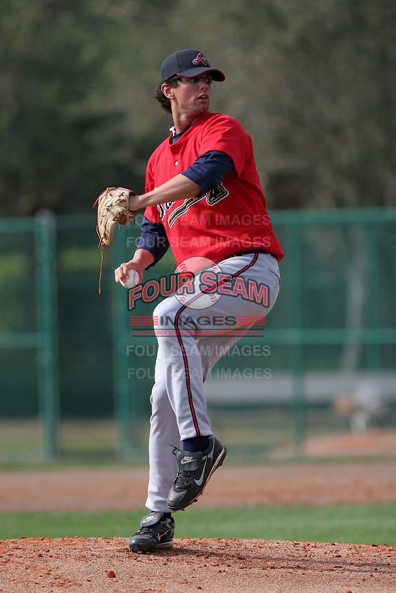Atlanta Braves minor leaguer Dustin Evans during Spring Training at Disney's Wide World of Sports on March 14, 2007 in Orlando, Florida.  (Mike Janes/Four Seam Images)