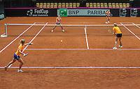 13 April, 2016, France, Trélazé, Arena Loire,   Semifinal FedCup, France-Netherlands, Dutch team practise, doubles <br /> Photo: Henk Koster/tennisimages