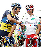 Alberto Contador (l) and Joaquin Purito Rodriguez during the stage of La Vuelta 2012 between Barakaldo and Valdezcaray.August 21,2012. (ALTERPHOTOS/Acero)