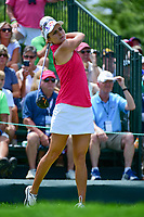 Lexi Thompson (USA) watches her tee shot on 1 during Saturday's third round of the 72nd U.S. Women's Open Championship, at Trump National Golf Club, Bedminster, New Jersey. 7/15/2017.<br /> Picture: Golffile | Ken Murray<br /> <br /> <br /> All photo usage must carry mandatory copyright credit (&copy; Golffile | Ken Murray)