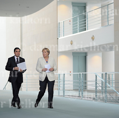 August 29-16,Chancellery,Berlin,Germany<br /> Turkmen President Gurbanguly Berdimukhamedov,l,after discussing selling gas to European Union countries, arrives for a joint news conference with German Chancellor Angela Merkel.