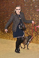 Carrie Fisher and dog Gary at 'Absolutely Fabulous: The Movie' world film premiere, Odeon cinema, Leicester Square, London, England June 19, 2016.<br /> CAP/PL<br /> &copy;Phil Loftus/Capital Pictures /MediaPunch ***NORTH AND SOUTH AMERICAS ONLY***