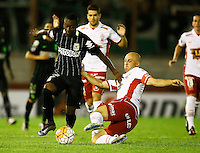BUENOS AIRES - ARGENTINA - 24-02-2016: Federico Mancinelli (Der.) jugador de Huracan de Argentina disputa el balon con Marlos Moreno (Izq.) jugador de Atletico Nacional de Colombia durante partido de la Primera Fecha del Grupo 4 por la Segunda Fase, entre Huracan y Atletico Nacional de la Copa Bridgestone Libertadores 2016 en el Estadio Tomas A Duco, de la ciudad de Buenos Aires. / Federico Mancinelli  (R) player of Huracan of Argentina vies for the ball with con Marlos Moreno (L) player Atletico Nacional of Colombia, during a match for the first date of the Group 4 for the second phase between Huracan and Atletico Nacional of Colombia for the Bridgestone Libertadores Cup 2016, in the Tomas A Duco, Stadium, in Buenos Aires city. Photo: Photogamma / Javier Garcia Martino / VizzorImage.