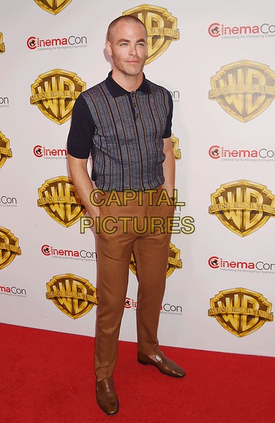 LAS VEGAS, CA - MARCH 29: Actor Chris Pine arrives at CinemaCon 2017 Warner Bros. Pictures Invites You to ?The Big Picture?, an Exclusive Presentation of our Upcoming Slate at The Colosseum at Caesars Palace during CinemaCon, the official convention of the National Association of Theatre Owners, on March 29, 2017 in Las Vegas, Nevada.<br /> CAP/ROT/TM<br /> &copy;TM/ROT/Capital Pictures