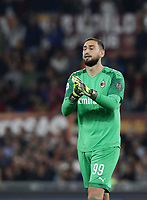Football, Serie A: AS Roma - AC Milan, Olympic stadium, Rome, October 27, 2019. <br /> Milan goalkeeper Gianluigi Donnarumma reacts during the Italian Serie A football match between Roma and Milan at Olympic stadium in Rome, on October 27, 2019. <br /> UPDATE IMAGES PRESS/Isabella Bonotto