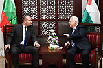 Palestinian President Mahmoud Abbas meets with Bulgarian President Rumen Radev, in the West Bank city of Ramallah on March 22, 2018. Photo by Thaer Ganaim