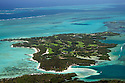 An aerial view of Le Touessrok Golf Course on Ile aux Cerfs, Mauritius. Designed by Bernhard Langer...