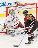 Katie Burt (BC - 33), McKenna Brand (NU - 7) - The Boston College Eagles defeated the Northeastern University Huskies 5-1 (EN) in their NCAA Quarterfinal on Saturday, March 12, 2016, at Kelley Rink in Conte Forum in Boston, Massachusetts.