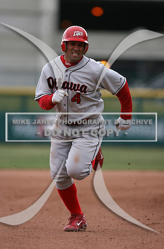 2007:  Danny Sandoval of the Ottawa Lynx runs to third base vs. the Buffalo Bisons in International League baseball action.  Photo copyright Mike Janes Photography 2007.