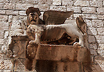 .Hvar Island. Hvar harbour. Venitian lion.Cruise in Croatia. Island of Dalmatia.