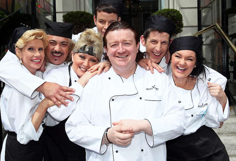 21/06/'11 Chef Conrad Gallagher of TV3's Celebrity Head Chef series pictured outside  his  'Dining Room' Restaurant with contestants, Mary Burke, Wagner, Adel King, Michael Hayes, Geraldine O'Callaghan and Kohlin Harris...NO REPRODUCTION FEE PIC...Picture Colin Keegan, Collins, Dublin.