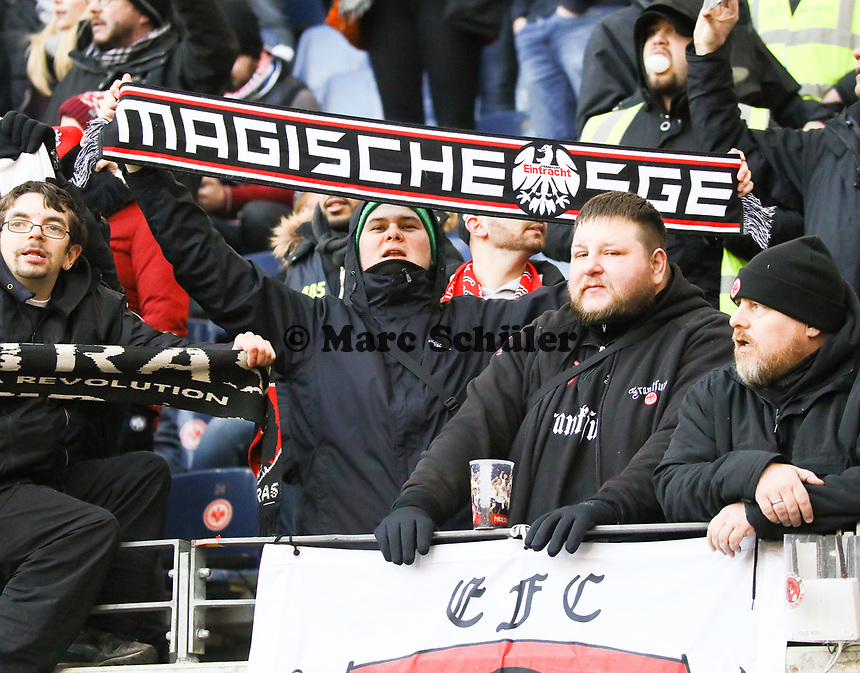 """Fans feuern die """"magische SGE"""" an - 19.01.2019: Eintracht Frankfurt vs. SC Freiburg, Commerzbank Arena, 18. Spieltag Bundesliga, DISCLAIMER: DFL regulations prohibit any use of photographs as image sequences and/or quasi-video."""