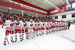 "Wisconsin Badgers sing ""Varsity"" after a first round NCAA tournament game against the Harvard Crimson Saturday, March 15, 2014 in Madison, Wis. The Badgers won 2-1 and advance to the Frozen Four. (Photo by David Stluka)"