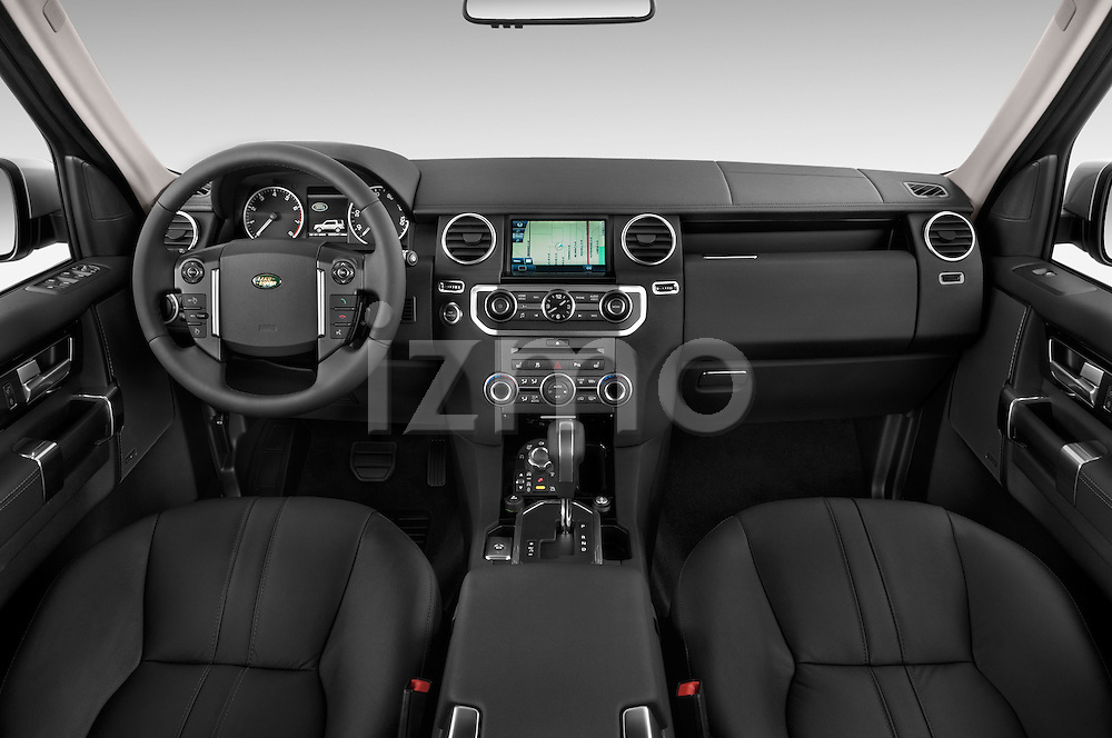 Stock photo of straight dashboard view of a 2014 Land Rover LR4 Base 5 Door SUV Dashboard