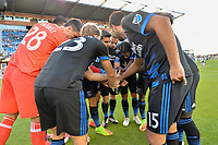 San Jose, CA - Monday July 10, 2017: San Jose Earthquakes huddle prior to a U.S. Open Cup quarterfinal match between the San Jose Earthquakes and the Los Angeles Galaxy at Avaya Stadium.