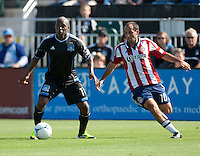 Santa Clara, California - Sunday May 13th, 2012: Nick LaBrocca of Chivas USA defending Tressor Moreno of San Jose Earthquakes 1- 1 during a Major League Soccer match at Buck Shaw Stadium