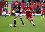 Samir Carruthers of Sheffield Utd in action with Adam Clayton of Middlesbrough during the Sky Bet Championship match at the Riverside Stadium, Middlesbrough. Picture date: August 12th 2017. Picture credit should read: Jamie Tyerman/Sportimage