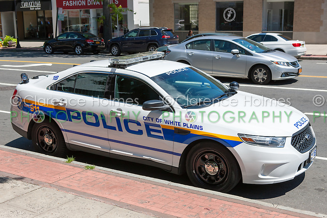 A police car of the City of White Plains police department parked in White Plains, New York.