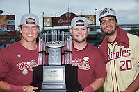 (L-R) Tyler Holton (14), Bryan Bussey (53), and Kyle Cavanaugh (20) pose for a photo with the championship trophy following their win over the North Carolina Tar Heels in the 2017 ACC Baseball Championship Game at Louisville Slugger Field on May 28, 2017 in Louisville, Kentucky. The Seminoles defeated the Tar Heels 7-3. (Brian Westerholt/Four Seam Images)