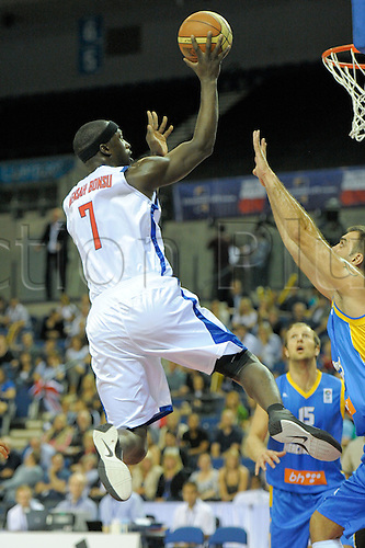 26.08.2010 Great Britain take on Bosnia Herzegovina in the Eurobasket Mens 2011 Qualifiers at the Echo Arena in Liverpool. Bonsu goes for basket.