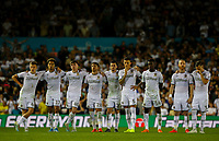 The Leeds United team watch on during the penalty shootout<br /> <br /> Photographer Alex Dodd/CameraSport<br /> <br /> The Carabao Cup Second Round- Leeds United v Stoke City - Tuesday 27th August 2019  - Elland Road - Leeds<br />  <br /> World Copyright © 2019 CameraSport. All rights reserved. 43 Linden Ave. Countesthorpe. Leicester. England. LE8 5PG - Tel: +44 (0) 116 277 4147 - admin@camerasport.com - www.camerasport.com