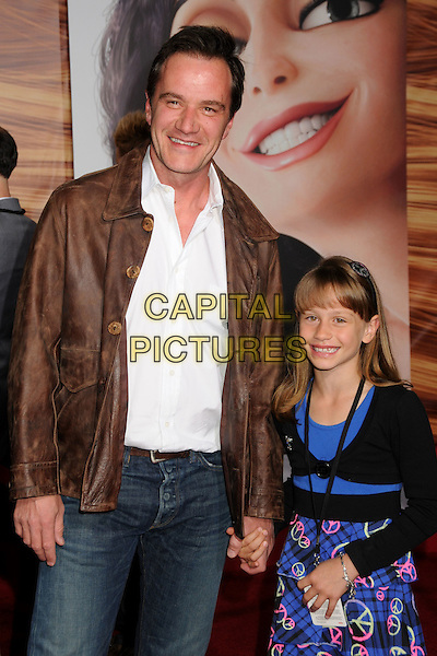 "TIM DeKAY & daughter.""Tangled"" Los Angeles Premiere held at the El Capitan Theatre, Hollywood, California, USA..November 14th, 2010.half length white shirt brown jacket blue black kid child father dad family.CAP/ADM/BP.©Byron Purvis/AdMedia/Capital Pictures."