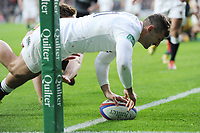 Jonny May of England scores a try in the opening minutes of the Quilter International match between England and Australia at Twickenham Stadium on Saturday 24th November 2018 (Photo by Rob Munro/Stewart Communications)