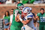 Southern Methodist Mustangs punter Russell Roberts (97) in action during the game between the UNT Mean Green and the SMU Mustangs at the Gerald J. Ford Stadium in Fort Worth, Texas.