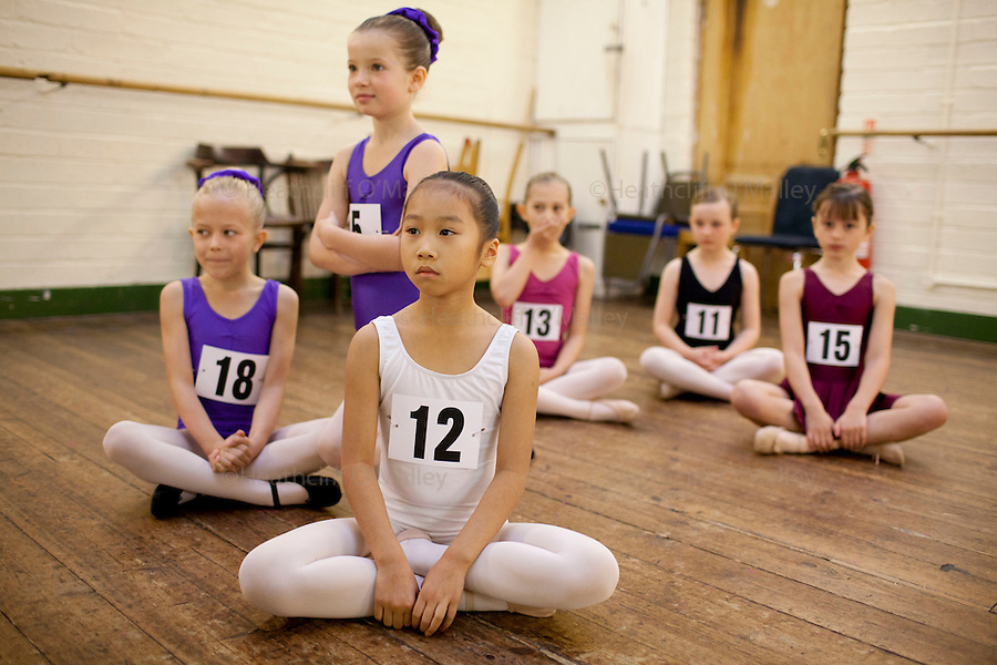 "Mcc0035274 . Daily Telegraph..The warm-up room..Audition's for the London Children's Ballet in Fulham today and a chance for a role in a production of ""The Little Princess"" at the Peacock Theatre in April 2012..In the nine year olds age group pictured here there were 100 auditionees for a mere 7 places...London 30 October 2011."