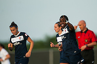 Sky Blue FC forward Danesha Adams (9) celebrates scoring. Sky Blue FC defeated the Boston Breakers 5-1 during a National Women's Soccer League (NWSL) match at Yurcak Field in Piscataway, NJ, on June 1, 2013.