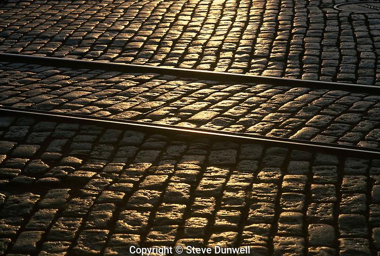 cobblestones and railroad tracks, South Boston, MA