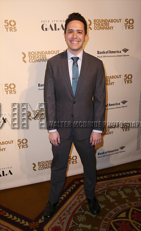 Adam Gwon attends the Roundabout Theatre Company's  50th Anniversary Gala at The Waldorf-Astoria on February 29, 2016 in New York City.