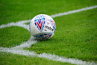 A close up of a Mitre Delta official EFL match football<br /> <br /> Photographer Chris Vaughan/CameraSport<br /> <br /> The EFL Sky Bet League One - Lincoln City v Fleetwood Town - Saturday 31st August 2019 - Sincil Bank - Lincoln<br /> <br /> World Copyright © 2019 CameraSport. All rights reserved. 43 Linden Ave. Countesthorpe. Leicester. England. LE8 5PG - Tel: +44 (0) 116 277 4147 - admin@camerasport.com - www.camerasport.com