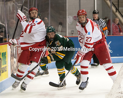 Dillon Lawrence (BU - 12), Connor Brickley (UVM - 23), Doyle Somerby (BU - 27) - The Boston University Terriers defeated the visiting University of Vermont Catamounts 4-2 (EN) on Friday, January 24, 2014, at Agganis Arena in Boston, Massachusetts.