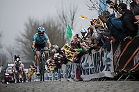 Hugo Houle (CAN/Astana) leads the early break away group on the first passage of the Oude Kwaremont <br /> <br /> 103rd Ronde van Vlaanderen 2019<br /> One day race from Antwerp to Oudenaarde (BEL/270km)<br /> <br /> ©kramon