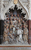 Exhumation of St Firmin, Gothic style polychrome high-relief sculpture in the second intercolumniation of the South side of the choir screen, 1490-1530, commissioned by canon Adrien de Henencourt, depicting the life of St Firmin, at the Basilique Cathedrale Notre-Dame d'Amiens or Cathedral Basilica of Our Lady of Amiens, built 1220-70 in Gothic style, Amiens, Picardy, France. St Firmin, 272-303 AD, was the first bishop of Amiens. Amiens Cathedral was listed as a UNESCO World Heritage Site in 1981. Picture by Manuel Cohen