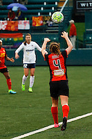 Rochester, NY - Friday April 29, 2016: Western New York Flash defender Elizabeth Eddy (4) on a throw in. The Washington Spirit defeated the Western New York Flash 3-0 during a National Women's Soccer League (NWSL) match at Sahlen's Stadium.