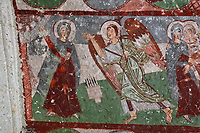 Fresco of the Annunciation, in Pancarlik Kilise or Pancarlik Church, early 11th century, in the Pancarlik Valley, Nevsehir province, Cappadocia, Central Anatolia, Turkey. The churches are carved from the soft volcanic tuff created by ash from volcanic eruptions millions of years ago. Early christians came here to flee persecution by the Romans and others settled here under the influence of early saints. This area forms part of the Goreme National Park and the Rock Sites of Cappadocia UNESCO World Heritage Site. Picture by Manuel Cohen