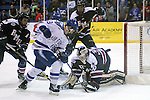 February 20, 2016 - Colorado Springs, Colorado, U.S. -   First period action in front of the Colonial goal during an NCAA ice hockey game between the Robert Morris University Colonials and the Air Force Academy Falcons at Cadet Ice Arena, United States Air Force Academy, Colorado Springs, Colorado.  Air Force defeats Robert Morris 4-1
