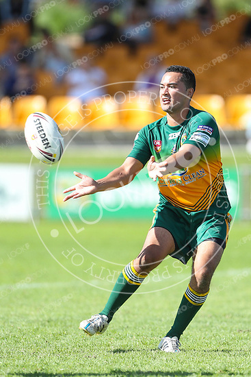 The Wyong Roos play Terrigal Sharks in Round 5 of the Open Age Central Coast Rugby League Division at Morry Breen Oval on 30 April, 2017 in Kanwal, NSW Australia. (Photo by Paul Barkley/LookPro)