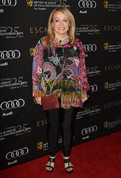 Jackie Weaver.18th Annual BAFTA Los Angeles Awards Season Tea Party held at the Four Seasons Hotel, Beverly Hills, California, USA..January 14th, 2012.full length black trousers pink paisley top print  brown bag purse .CAP/ADM/KB.©Kevan Brooks/AdMedia/Capital Pictures.
