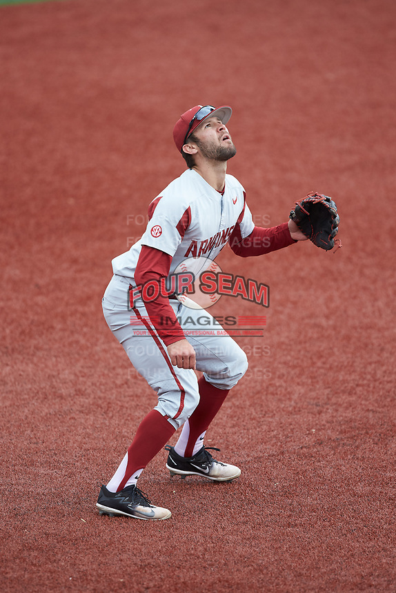 Arkansas Razorbacks third baseman Jack Kenley (7) tracks a pop fly during the game against the Charlotte 49ers at Hayes Stadium on March 21, 2018 in Charlotte, North Carolina.  The 49ers defeated the Razorbacks 6-3.  (Brian Westerholt/Four Seam Images)